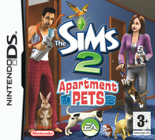 The Sims 2 Apartment Pets NDS DS box art packshot